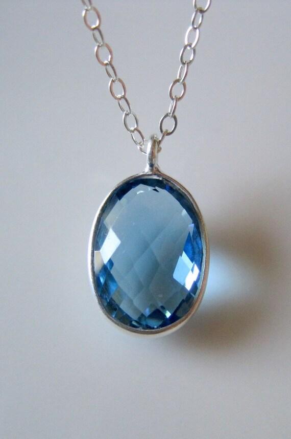 Genuine Sapphire Gemstone Sterling Silver Necklace