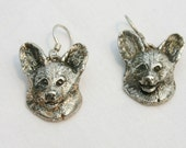 Sterling Silver Cardigan Welsh Corgi Dangles on French Ear Wires