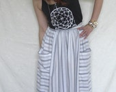 Vintage grey white stripe midi skirt Pockets
