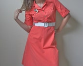 Vintage Tangerine Dress with wide Yoke, Collar and Buttons