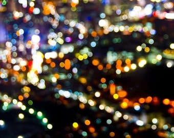 "Seoul, South Korea, Abstract Fine Art, color photograph, landscape, cityscape, night, color photo print ""City of Seouls"""