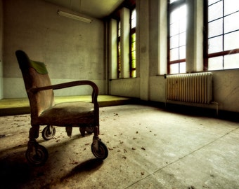"""Neglected Beauty, Fine Art Print, Abandoned Building, Belgium Architectural, color photography """"The Waiting Room"""""""