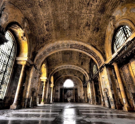 Detroit Architecture Color Photography Neglected By