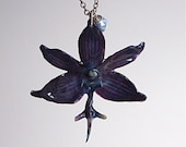 Real Mini Orchid Necklace - Midnight Blue Sterling Silver
