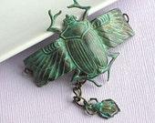 Scarab Cuff Bracelet - Verdigris Patina Jewelry, Brass, Egyptian Beetle