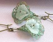 Verdigris Filigree Earrings - Lily/  Flower Petal