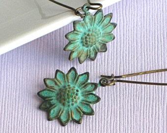 Sunflower Earrings - Verdigris, Patina Jewelry, Nature Jewelry, Garden Jewelry, Flower Earrings, Floral Jewelry