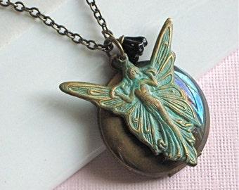Garden Fairy Locket Necklace -  Verdigris Brass