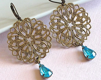 Brass Filigree Aquamarine Jewel Earrings