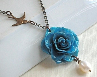 Preserved Rose Necklace - Blue. Real Flower Jewelry, Brass, Pearl