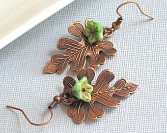 Copper Leaf Earrings Jewelry - Oak, Turquoise Czech Flower