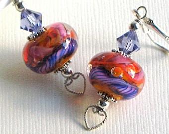 Lampwork/Swarovski Elements Earrings - Artisan Handmade, Sterling Silver