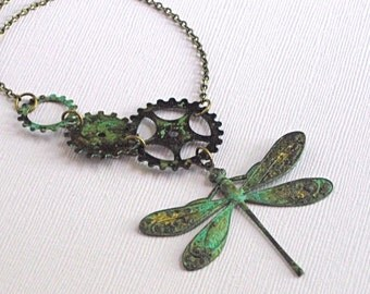 Verdigris Dragonfly Necklace - Steampunk