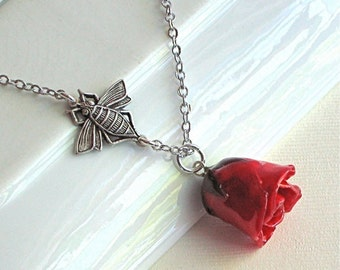 Real Red Rose Bud Necklace - Natural Preserved,  Flower Jewelry, Bee, Sterling Silver
