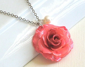 Real Pink Rose Necklace - Natural Preserved Flower Jewelry