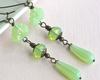 Mint Green Earrings - Czech Glass Maple Leaf, Teardrop, Long, Brass