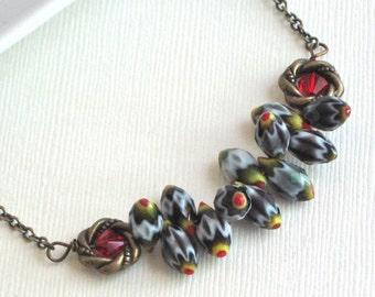 Chevron Bead Necklace - Czech Glass, Black Red Yellow White Gray, Crystal, Brass