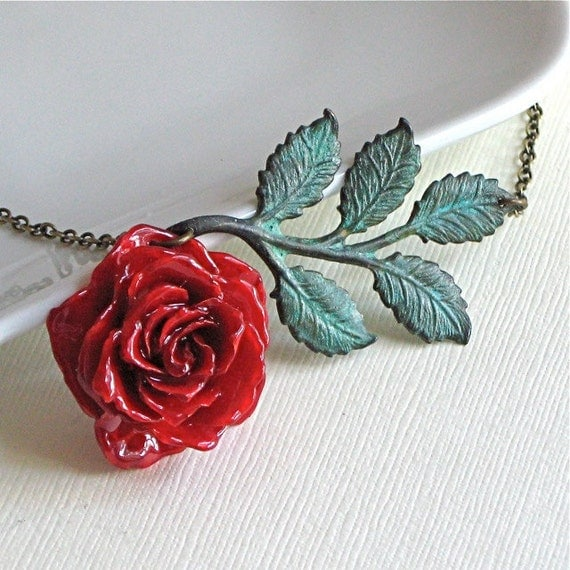 Real Red Rose Necklace - Preserved,  Flower Jewelry, Verdigris Brass, Leaves
