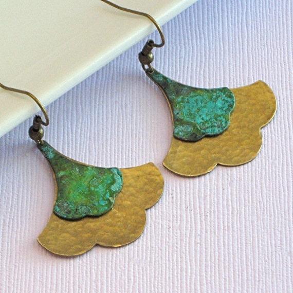 Ginkgo Leaf Earrings - Hammered, Verdigris Brass
