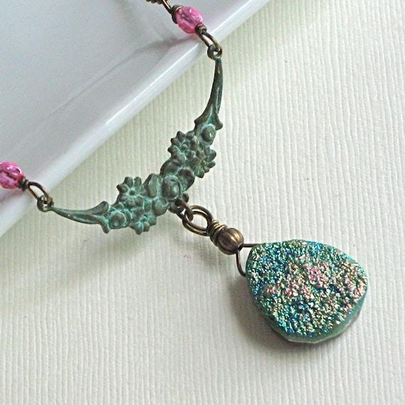 Titanium Druzy Quartz Necklace - Verdigris Brass, Jewelry