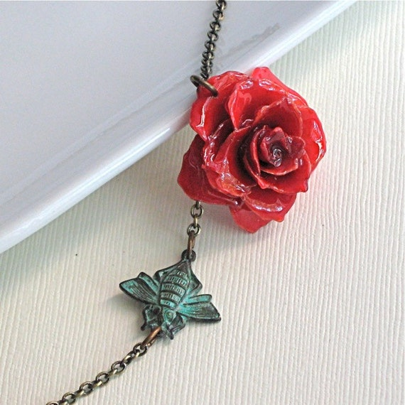 Real Flower Jewelry - Red Rose Necklace. Natural Preserved, Verdigris Patina Bee, Brass
