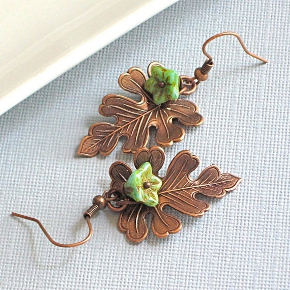 Copper Leaf Earrings Jewelry - Oak, Turquoise Czech Flower
