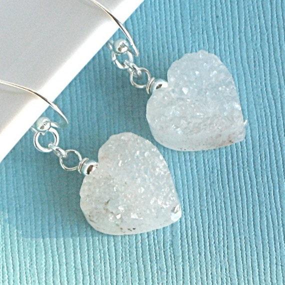 Druzy Heart Earrings  - Quartz, Sterling Silver