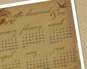 Victorian Rose PDF Printable 2010 Year-at-a-Glance Calendar