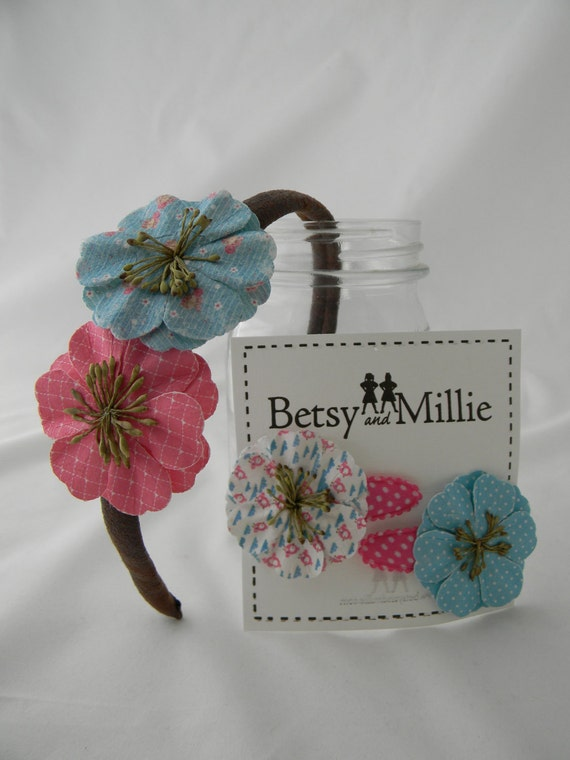 Girls Leather Flower Headband or Toddler Flower Snap Clips