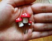 Set of Three Red Mushrooms for Plant or Terrarium