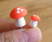 Set of Two Orange Mushrooms for Plant or Terrarium