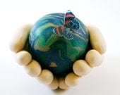 Whole World in His Hands Sculpture with Butterfly -  Gift for Sunday School Teacher - It's a Small World - Unique Art -  Made to Order