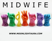 7 Letter Word Sign Language Sculptures - Word Midwife or Any Seven Letter Name in ASL - Great Gift for Midwife - You Choose Colors