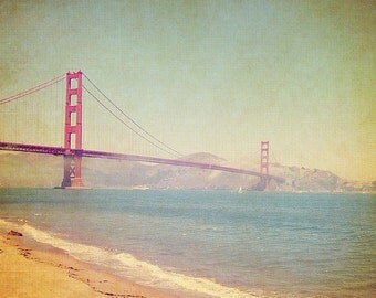 BUY 2 GET 1 FREE San Francisco Photography, Golden Gate Bridge, California, Ocean, Beach, Orange -A Golden Day at the Beach  Fine Art Print