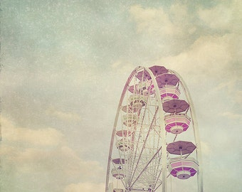 BUY 2 GET 1 FREE Carnival Photography, Nursery Art, Ferris Wheel, fpoe, Shabby Chic, Wall Decor, Clouds, White, Pink - In The Clouds