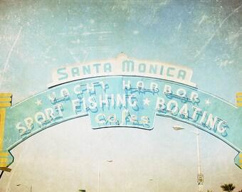 California, Santa Monica, Pier, Boardwalk, fpoe, Wall Decor, Travel Photography, Blue, White, Yellow, Photography - Sunny in Santa Monica