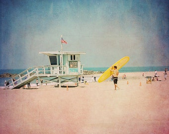BUY 2 GET 1 FREE California Photography, fpoe, Venice Beach, Travel, Surfer, Sand, Ocean, Travel Photography -Surf at Noon  Fine Art Print