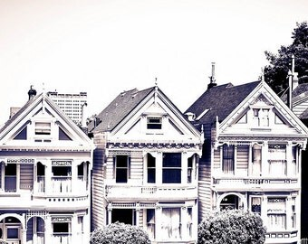 BUY 2 GET 1 FREE San Francisco Photography, White Houses, three, California, Summer, Office Decor, Wall Decor - White Houses