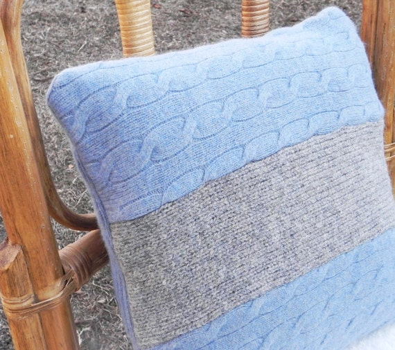 Cable Knit Wool Pillow Cover Gray and Smokey Blue