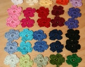 40 multi colors small crochet flowers