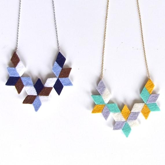 Kaleidoscope felt collage Necklace