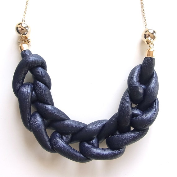 Faux Leather Ami Necklace- limited edition