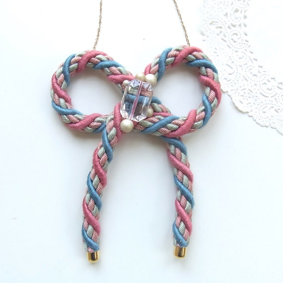 Bow Rope Necklace - Pink Mix - limited edition