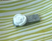 White Rose w/ Gray Baby Hair Clip