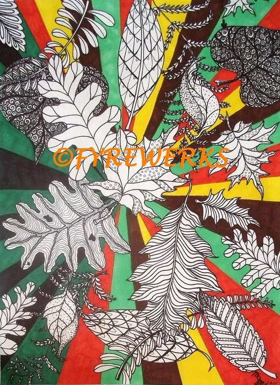 Psychedelic Leaves Print