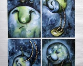 Faces of the Moon - collection of 4 postcards