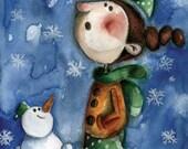 First snow - postcard