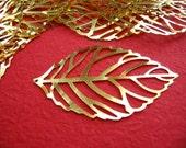 15pcs Gold Plated Filigree Leaf Wrap Charms 32x55mm