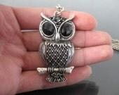 2pcs Antique Silver Finish Vintage Owl Charms Drop 50x30mm -- Newest Arrival