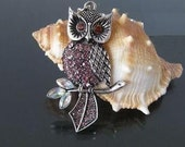 2pcs Antique Silver Finish Owl On Branch Charms Dorp 50x25mm -- Newest Arrival